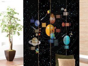 Πλανήτες με πρόσωπο Παιδικά Παραβάν 80 x 180 εκ. [Δίφυλλο]