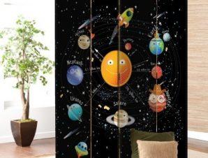 Ηλιακό Σύστημα 2 Παιδικά Παραβάν 80 x 180 εκ. [Δίφυλλο]