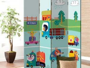Ζωάκια Με Αυτοκίνητα Παιδικά Παραβάν 80 x 180 εκ. [Δίφυλλο]