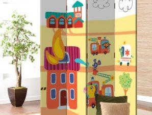 Ζωάκια Πυροσβέστες Παιδικά Παραβάν 80 x 180 εκ. [Δίφυλλο]