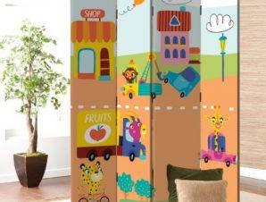 Ζωάκια στην πόλη Παιδικά Παραβάν 80 x 180 εκ. [Δίφυλλο]