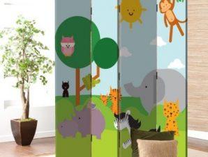 Ζώα στην Ζούγκλα Παιδικά Παραβάν 80 x 180 εκ. [Δίφυλλο]