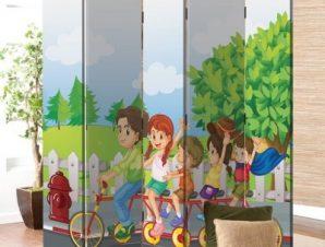 Παιδάκια Με Ποδήλατο Παιδικά Παραβάν 80 x 180 εκ. [Δίφυλλο]