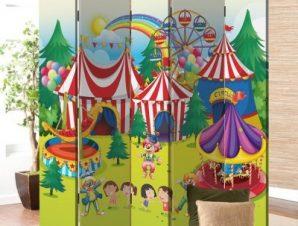 Πολύχρωμο τσίρκο Παιδικά Παραβάν 80 x 180 εκ. [Δίφυλλο]