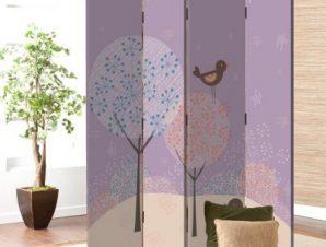 Πουλιά με δέντρα Παιδικά Παραβάν 80×180 cm [Δίφυλλο]