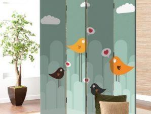 Πουλιά της αγάπης Παιδικά Παραβάν 80 x 180 εκ. [Δίφυλλο]