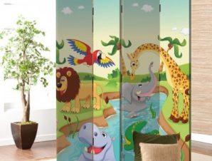 Ζωάκια στη ζούγκλα Παιδικά Παραβάν 80 x 180 εκ. [Δίφυλλο]