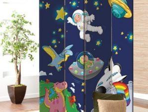Αστροναύτης στο διάστημα Παιδικά Παραβάν 80 x 180 εκ. [Δίφυλλο]