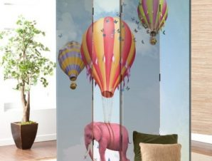 Ροζ ελεφαντάκι σε αερόστατο Παιδικά Παραβάν 80 x 180 εκ. [Δίφυλλο]