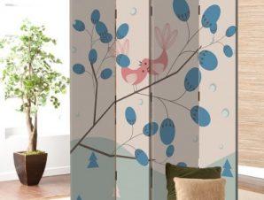 Ρομαντικό φόντο με πουλιά Παιδικά Παραβάν 80 x 180 εκ. [Δίφυλλο]