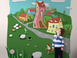 Φανταστικό χωριό Παιδικά Ταπετσαρίες Τοίχου 100 x 100 εκ.