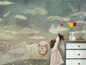 Κριαράκι σε ξέφωτο Παιδικά Ταπετσαρίες Τοίχου 100 x 100 εκ.