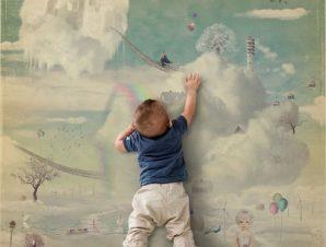 Φανταστική πόλη στον ουρανό Παιδικά Ταπετσαρίες Τοίχου 100 x 100 cm