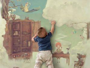 Φανταστικό δωμάτιο στον ουρανό Παιδικά Ταπετσαρίες Τοίχου 100 x 100 cm