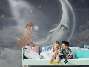 Κοπέλα παρέα με το φεγγάρι Παιδικά Ταπετσαρίες Τοίχου 100 x 100 εκ.