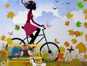 Κορίτσι σε ποδήλατο στη φύση Παιδικά Ταπετσαρίες Τοίχου 100 x 100 εκ.