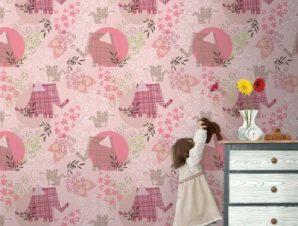 Ροζ ελεφαντάκια Παιδικά Ταπετσαρίες Τοίχου 100 x 100 εκ.