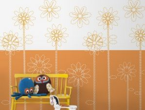 Πορτοκαλί λουλούδια Παιδικά Ταπετσαρίες Τοίχου 100 x 100 εκ.