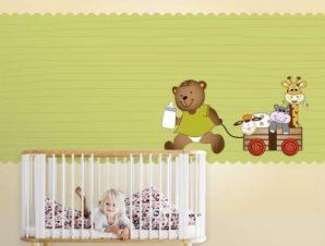 Αρκουδάκι Παιδικά Ταπετσαρίες Τοίχου 100 x 100 εκ.