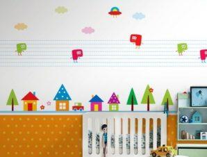 Δέντρα και σπίτια Παιδικά Ταπετσαρίες Τοίχου 85 x 110 cm