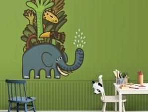 Χαριτωμένα ζώα στο σαφάρι Παιδικά Ταπετσαρίες Τοίχου 100 x 100 εκ.