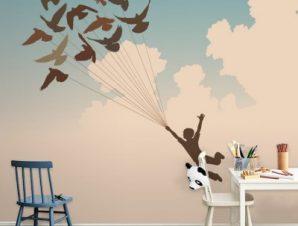 Αγόρι με πουλιά στον ουρανό Παιδικά Ταπετσαρίες Τοίχου 100 x 100 εκ.