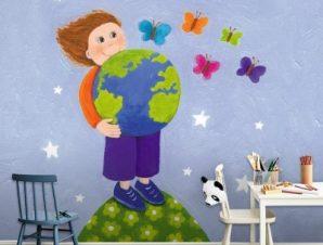 Παιδάκι κρατά τον κόσμο Παιδικά Ταπετσαρίες Τοίχου 100 x 100 εκ.