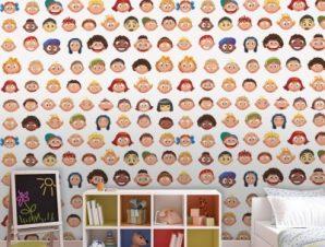 Μοτίβο με παιδάκια Παιδικά Ταπετσαρίες Τοίχου 100 x 100 cm
