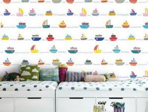Πολύχρωμες Βαρκούλες Παιδικά Ταπετσαρίες Τοίχου 100 x 100 cm