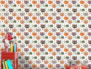 Γατούλες με Γυαλιά Παιδικά Ταπετσαρίες Τοίχου 100 x 100 cm