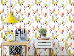Πολύχρωμα Πουλιά Παιδικά Ταπετσαρίες Τοίχου 100 x 100 cm