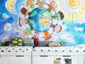 Γύρος του κόσμου Παιδικά Ταπετσαρίες Τοίχου 100 x 100 εκ.