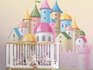 Ροζ παλάτι Παιδικά Ταπετσαρίες Τοίχου 100 x 100 εκ.