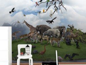Άγρια Ζώα Παιδικά Ταπετσαρίες Τοίχου 100 x 100 cm
