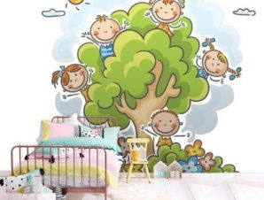 Χαρούμενα Παιδάκια Παιδικά Ταπετσαρίες Τοίχου 100 x 100 cm