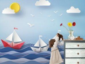 Βάρκες Παιδικά Ταπετσαρίες Τοίχου 86 x 120 cm
