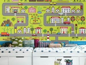 Μικρός xάρτης πόλης Παιδικά Ταπετσαρίες Τοίχου 100 x 100 εκ.