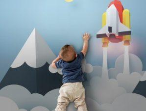 Πάνω Στα Σύννεφα Παιδικά Ταπετσαρίες Τοίχου 100 x 100 εκ.