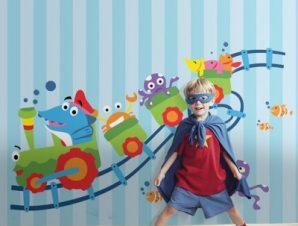Τρενάκι Παιδικά Ταπετσαρίες Τοίχου 100 x 100 εκ.