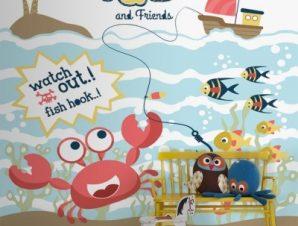 Ψαράς Παιδικά Ταπετσαρίες Τοίχου 100 x 100 εκ.