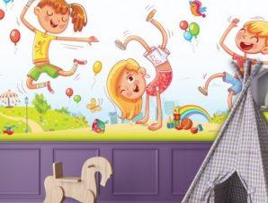Χαρούμενα παιδάκια παίζουν Παιδικά Ταπετσαρίες Τοίχου 100 x 100 εκ.