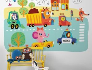 Μικρά Οχήματα Παιδικά Ταπετσαρίες Τοίχου 80 x 120 cm