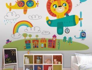 Iπτάμενα Zωάκια Παιδικά Ταπετσαρίες Τοίχου 100 x 100 εκ.