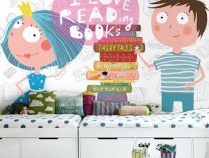 Αγαπώ Να Διαβάζω Βιβλία Παιδικά Ταπετσαρίες Τοίχου 100 x 100 εκ.