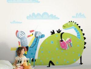 Δεινόσαυρος Διαβάζει Βιβλίο Παιδικά Ταπετσαρίες Τοίχου 80 x 120 cm