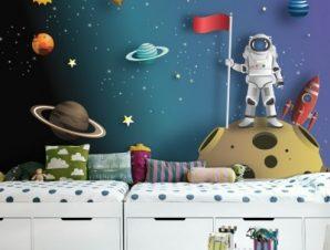 Αστροναύτης Στο Φεγγάρι Παιδικά Ταπετσαρίες Τοίχου 76 x 120 cm