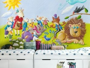 Τροπικά Ζωάκια Παιδικά Ταπετσαρίες Τοίχου 83 x 120 cm