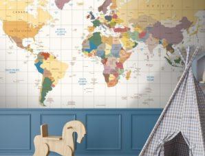 Παγκόσμιος χάρτης με γραμμές Παιδικά Ταπετσαρίες Τοίχου 100 x 100 εκ.