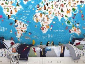Χάρτης με τις θάλασσες Παιδικά Ταπετσαρίες Τοίχου 100 x 100 εκ.