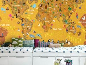 Καφέ χάρτης Παιδικά Ταπετσαρίες Τοίχου 100 x 100 εκ.